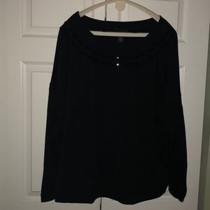 Lane Bryant Black Top with bead detail. Size 26W